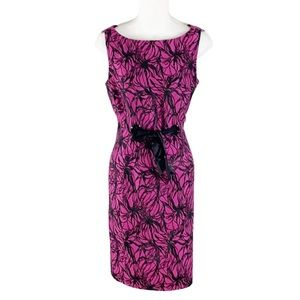 Taylor pink black jacquard tie front sheath dress